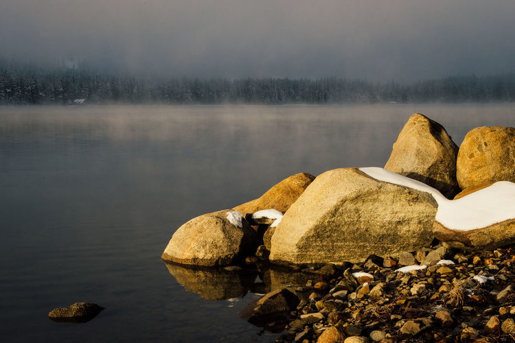 Winter sunrise at Donner Lake, California. California Donner Lake Truckee  Winter Beauty In Nature Day Fog Lake Nature No People Outdoors Rock - Object Scenics Ski Tranquil Scene Tranquility Water Waterfront