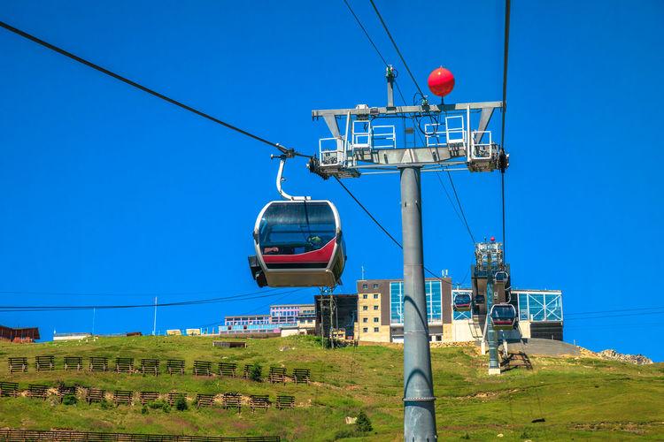 Overhead cable car against blue sky