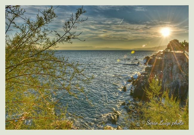 Genova Nervi Italy Seascape Sunset Water Tree Sea Beach Sunset Summer Sand Sunlight Sky Horizon Over Water