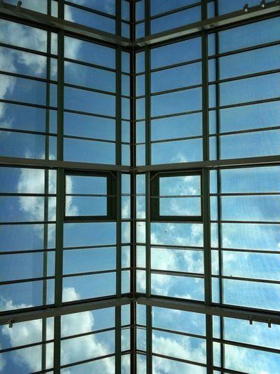 Full frame shot of skylight in building