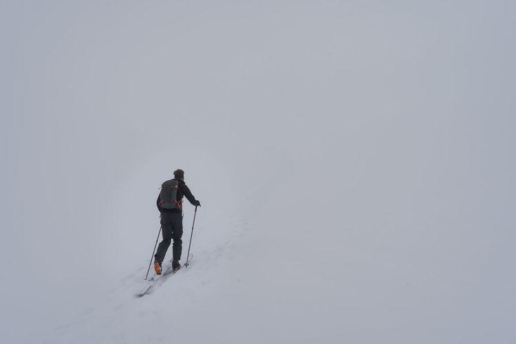 Man skitouring near davos