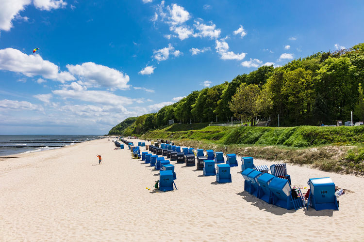 Beach chairs on the Baltic Sea coast. Baltic Sea Holiday Relaxing Beach Beach Chairs Blue Cloud - Sky Day In A Row Koserow Nature No People Outdoors Sand Sea Sky Summer Sunlight Tourism Tranquil Scene Travel Destinations Tree Usedom Vacation Water