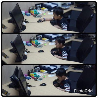 Razan in action at my office. Razan Nephew  Action Office myoffice myroom cute