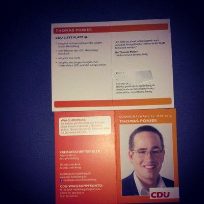 Ich finde die Visitenkarten ja sehr gut gelungen. :) Heidelberg Ju Kommunalwahl Cdu Jef Jungeunion Kw14 Jungerkandidat Jungeeuropäischeföderalisten Kommunalwahl2014 Listenplatz46 Kommunalwahl14 Cduliste