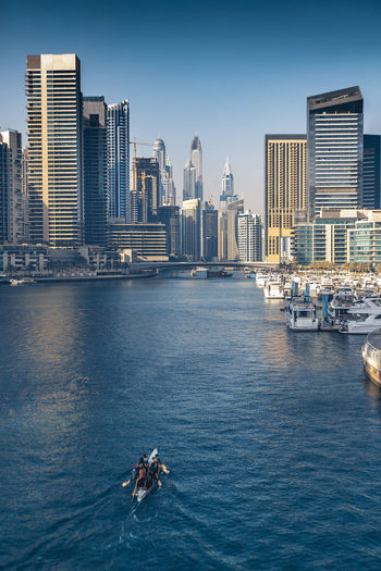 Bridge view near Dubai Marina Sailing Summer Modern Outdoors Cityscape Tall - High Day Urban Skyline Building Transportation Sky Nature Skyscraper Sea Office Building Exterior Waterfront Nautical Vessel City Architecture Built Structure Building Exterior Water Dubai UAE Dubai Marina Yacht
