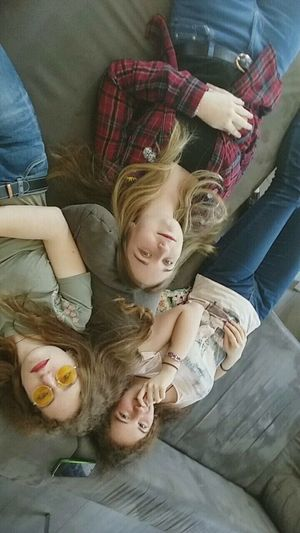 Child Girls High Angle View Childhood Indoors  Togetherness Females People Full Length Children Only Friendship Adult Day Three Three People Sunlight Yellow Red 80s 90s Only Women Freshness Human Hand Sweet Multi Colored