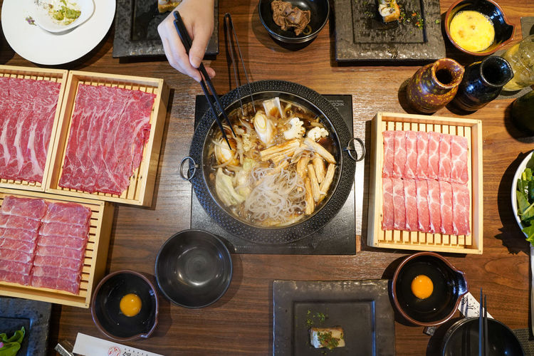 High angle view of various food on table