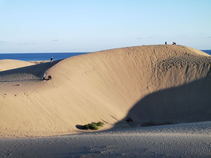 Sand dune on beach against clear sky
