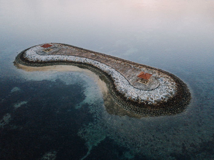 High angle view of sanur bali coast