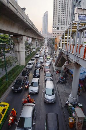 Bangkok, Thailand - January 3, 2016: Sukhumvit Road view of busy traffic from Thong Lo BTS sky train station. City Car Traffic City Street Street Skyscraper Road City Life Stuckintraffic Stuck In Traffic Cityscape ASIA Thailand Bangkok City Sukhumvit Sukhumvit Road BTS Skytrain Transportation Skytrain BTS Rush Hour Rushhour Thong Lo Boulevard Mobility In Mega Cities