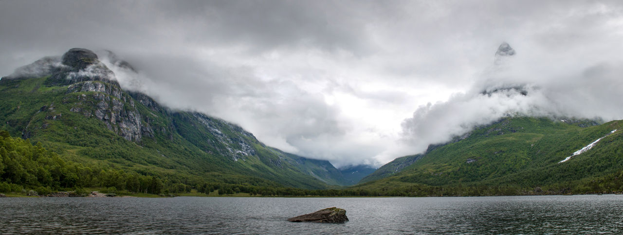 Green Moody Sky Norway Panorama Panoramic Perspective Skyline Fjord Innerdalen Lake Landscape Moody Mountain Panoramic Photography Water