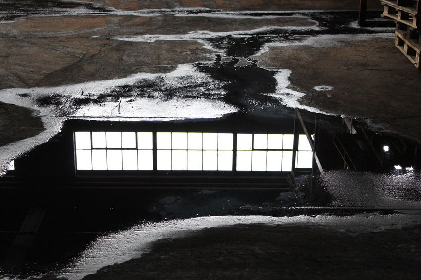 Abandoned Warehouse Window Reflection Flooded Abandoned Places Abandoned Buildings Abandoned Urbex Puddle Water Grunge Industrial Canon 1300d Canon New Camera The City Light Art Is Everywhere