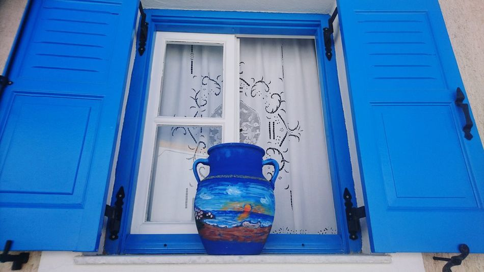 Paint Day Water Blue Color Bright Colors Greece Santorini Island Pottery Art Pottery Passion Pottery Bowl Blue Windows Windows_aroundtheworld Your Ticket To Europe