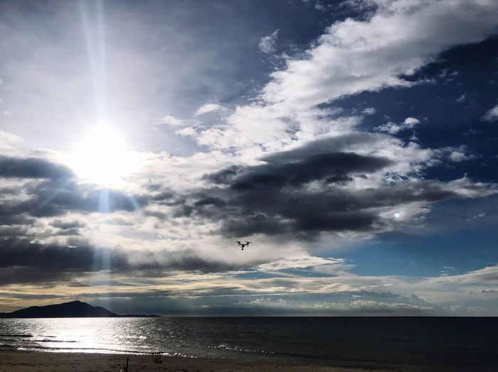 DJI Inspire in the clouds.. DJI Inspire 2 Sky Cloud - Sky Water Sunbeam Sea Sunlight Beauty In Nature Scenics - Nature Sun Horizon