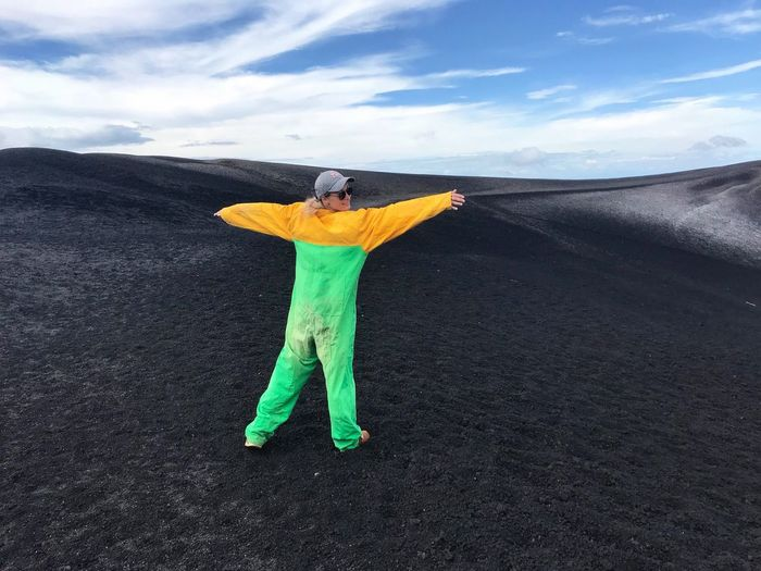 Nicaragua Cerro Negro Volcano VolcanoBoarding Lava Field Jumpsuit Extreme Sports Adventure Adrenaline Junkie One Person Cloud - Sky Real People Day Sky Full Length Nature Lifestyles Standing Scenics