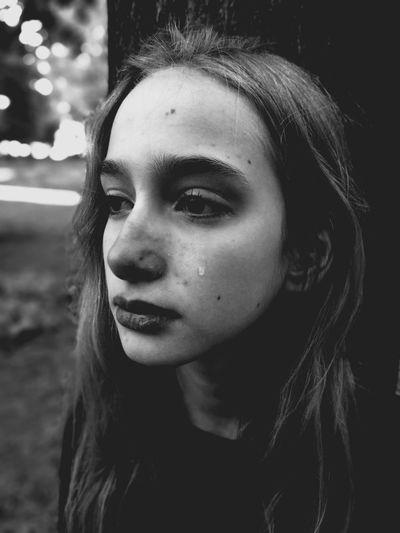 The Portraitist - 2017 EyeEm Awards Emotions Young Girl Tear Monochrome Black And White Heavy Alone Close Portrait The Week On EyeEm