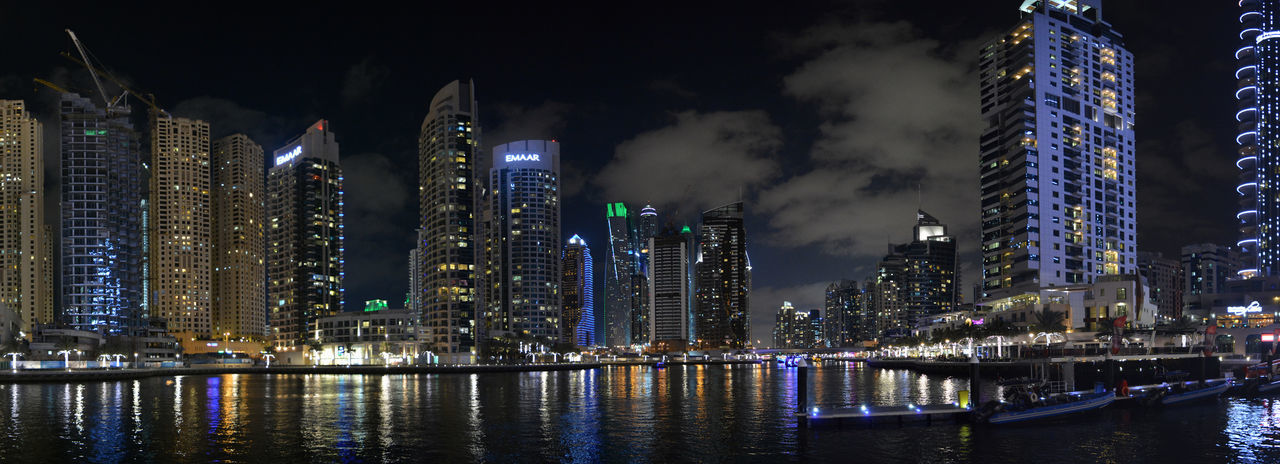 United Arab Emirates Dubai Wüste  VAE Panorama Panoramic Photography City Cityscape Urban Skyline Illuminated Modern Skyscraper Nightlife Business Finance And Industry Awe Downtown District Office Building High Rise Infrastructure Tall Settlement Residential District Spire  Building Story Skyline Financial District  Tall - High Tourist Attraction