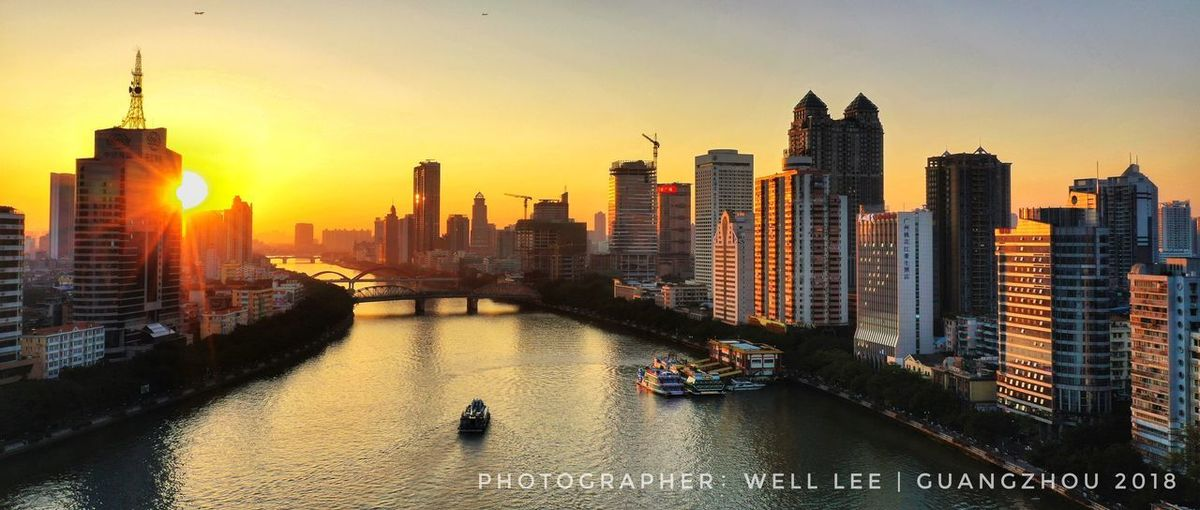 sunset Aerial Photography 广州 日落 黄昏 广州塔 珠江 城市风光 Building Exterior Architecture Built Structure Office Building Exterior Building City Sky Water Cityscape