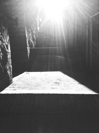 Stairway Stairway Of Light Sunbeams Black And White Steps Stone Steps