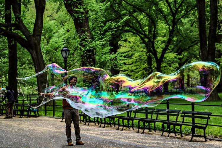 Central Park Central Park - NYC Multi Colored Bubble Full Length Park Creativity Outdoors Fun Leisure Activity Day