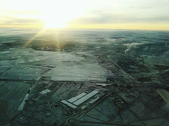 Beauty In Nature Landscape Cold Temperature Sunlight Nature Winter Aerial View Scenics Tranquility Tranquil Scene Field Sun Outdoors No People Snow Patchwork Landscape Sky Agriculture Day