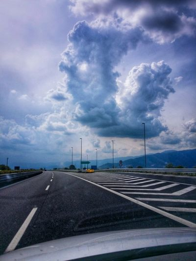 Free Wheeling Joy Of Driving Motorway Driving Travel Photography Travel Voyage Traveling Mobile Photography Fine Art Photography Backlight Cumulus Clouds Before A Storm Motorway Patterns Reflections And Shadows