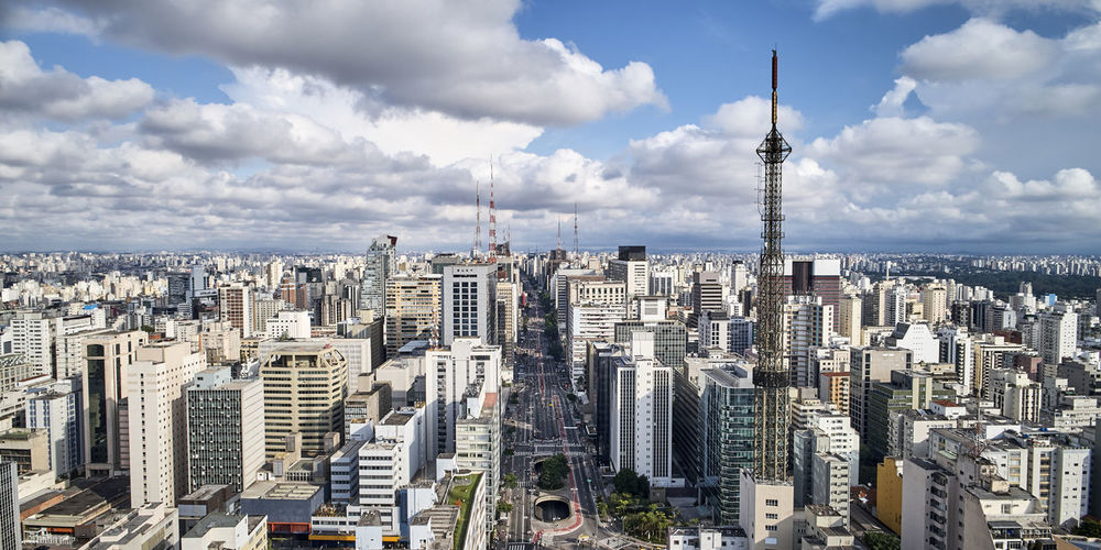 Aerial view of Paulista avenue in Sao Paulo city, Brazil Sao Paulo - Brazil São Paulo Avenida Paulista Paulista Avenue Paulista Brazil Brasil ♥ Brazilian Dronephotography Drone Photography City Cityscape Building Exterior Architecture Building Skyscraper Office Building Exterior Urban Skyline Travel Destinations Travel Financial District  Cloud - Sky Summer