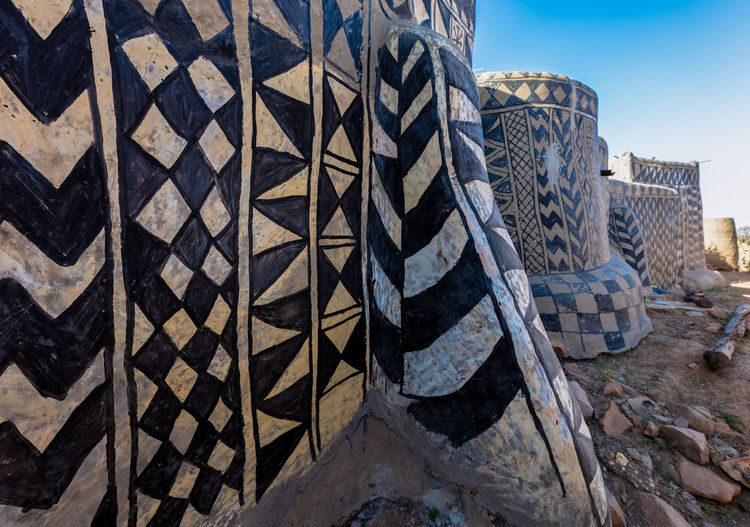 Architectural Feature Architecture Backgrounds Blue Built Structure Burkina Faso Close-up Day Design Full Frame Lobi Low Angle View No People Outdoors Repetition Sky