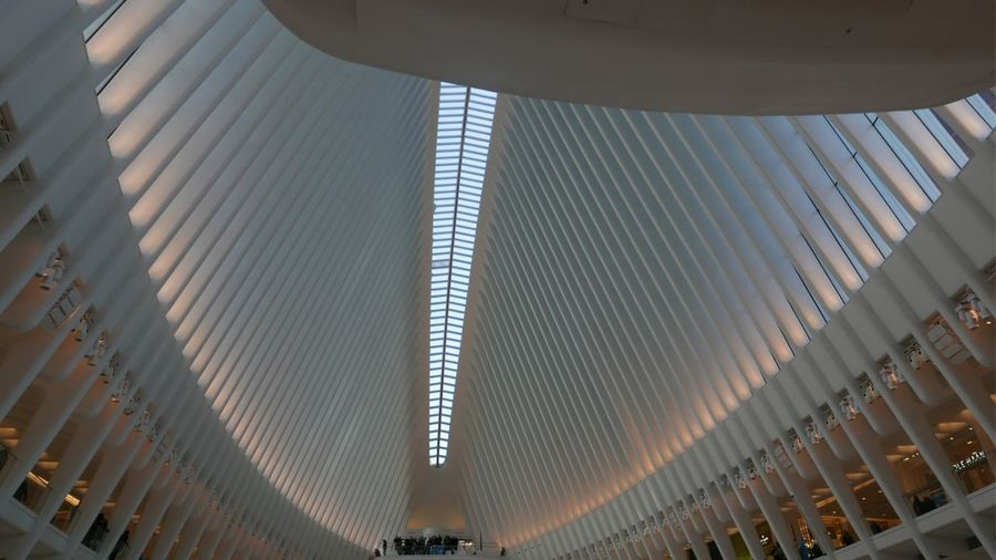 Unedited photo and one of the first taken with my new camera a Panasonic DMC-LX100. New York ❤ New York City Streetphotography Urban Geometry Urban Wide Angle EyeEm Selects Ceiling Architecture Indoors  Pattern In A Row Modern Built Structure Architectural Feature Architectural Design Illuminated Day Low Angle View No People