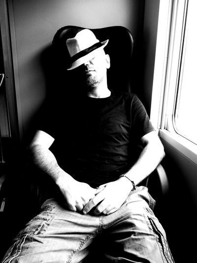 Man wt hat This Is Me Sleeping In The Train Photo By  M.A All Rigths Reserved Happy Monday Human Hand Sitting Men Portrait Relaxation Front View Casual Clothing Posing Focus On Shadow