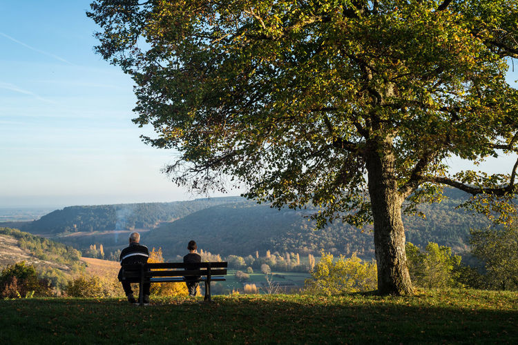 Rea view of boy and man sitting on bench at mountain