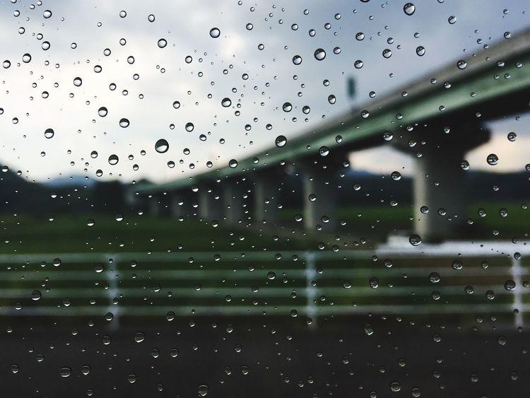 Drop Rain Window Wet Rainy Season RainDrop Close-up Bridge Bus View