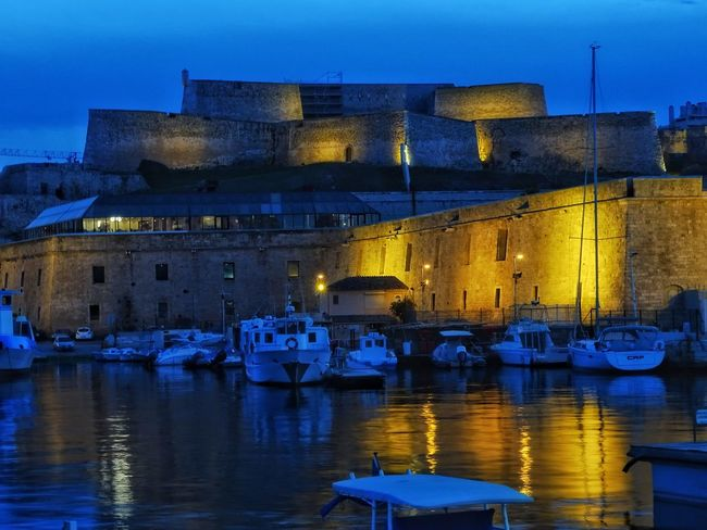 Harbor Harbour Harbour View Vauban Nightphotography Night Photography Blue Hour Blue And Yellow Blue And Gold Night Illuminated Reflection Water Architecture No People Nautical Vessel Built Structure Outdoors Building Exterior City