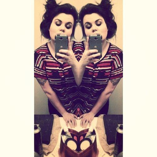 My hair never looks like the cute messy bun . It looks like the hun bun . Mirriorshot Twins ?
