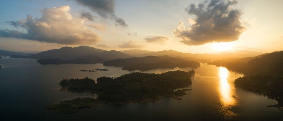 Aerial panorama of kenyir lake Aerial Golden Sunset Sunset Silhouettes Dam Aerial Lakeside Lakeside Aerial View Of Mountains Aerial Shot Aerial Panorama Panoroma Aerial Photo Water Beauty In Nature Scenics Sky Reflection Sunset Nature Tranquil Scene Tranquility Waterfront Idyllic No People Mountain Lake Cloud - Sky Outdoors Tree Day