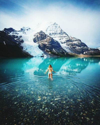 Hills Water Travel One Person Summer Vacations Fun Landscape Adventure People Outdoors Beauty Sport Swimming Mountain Adults Only Beauty In Nature Adult Sky Day
