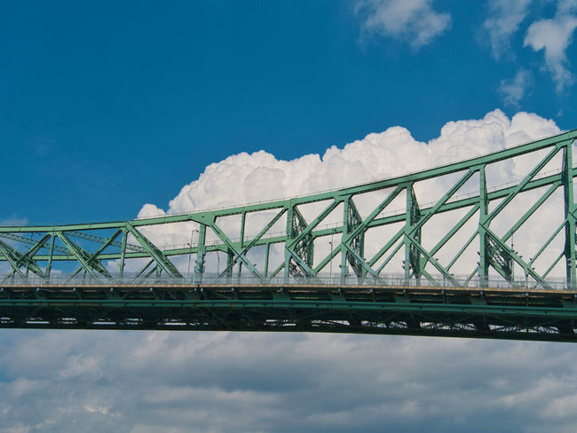 Architecture Blue Bridge Bridge - Man Made Structure Built Structure Cloud - Sky Connection Day Low Angle View Metal Nature No People Outdoors Railing Sky Snow Sunlight Transportation Travel