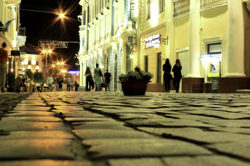 Chernivtsi  Night Life. Night Lights Pedestrians Street Adapted To The City черновцы вечерняяпрогулка вечер вечернийгород