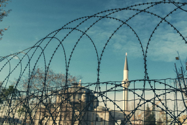 Fence Barbed Wire Barrier Boundary Sky Safety Protection No People Razor Wire Security Built Structure Nature Cloud - Sky Sharp Wire Architecture Low Angle View Day Building Exterior Metal Outdoors Mosque Muslim Istanbul My Best Photo