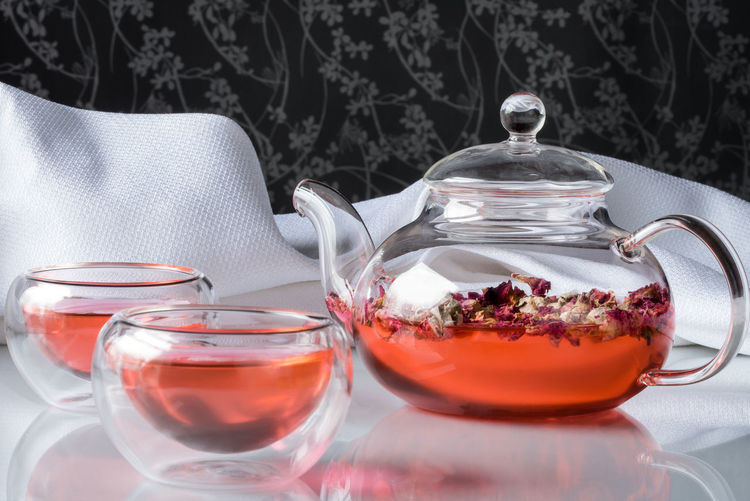 Rosebud tea Beverage Cups Dried Drink Flower Glass Healthy Hot Rosebud Tea Teapot