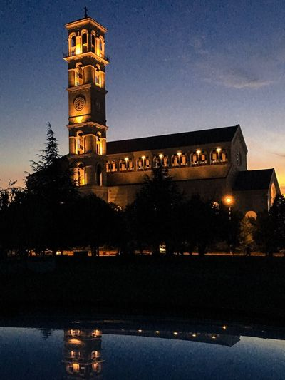 Illuminated Architecture Night Built Structure Building Exterior History Outdoors Sky No People Travel Destinations Clock Tower Tree Nature Cathedral Mother Teresa Vscokosova PRISHTINA Kosovo
