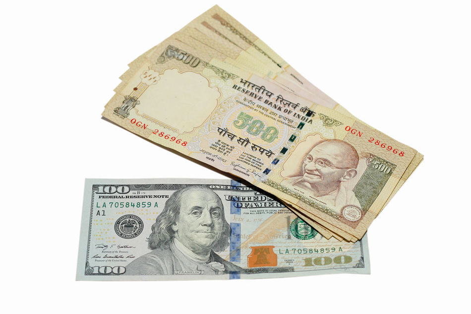 Currency Paper Currency White Background Studio Shot Currency Indian Rupee Inr USD Foreign Exchange  Forex Money Business Bank