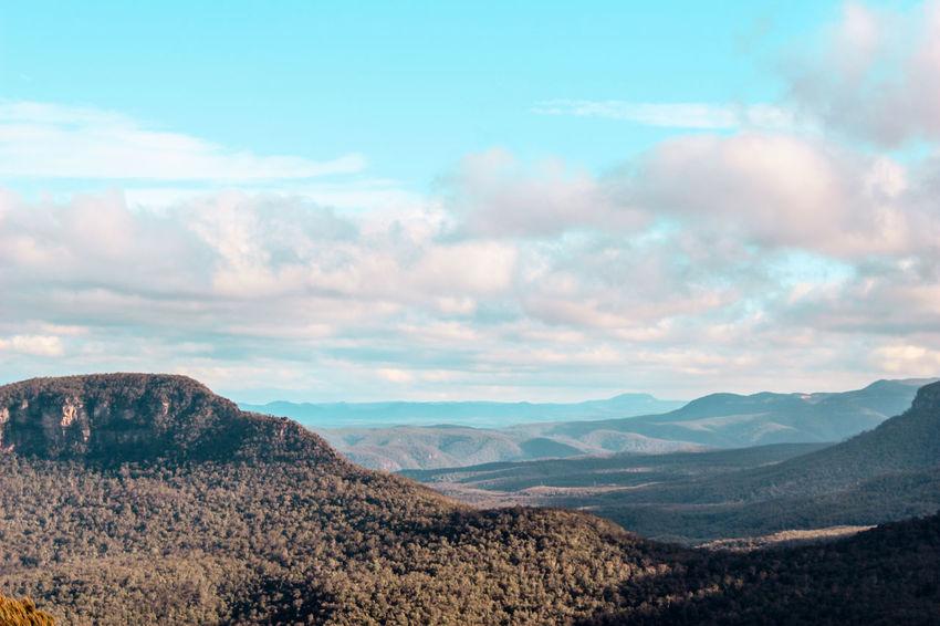 Australia Beauty In Nature Bluemountains Cloud - Sky Day Extreme Terrain Katoomba Katzen Landscape Mountain Mountain Range Mountains Mountains And Sky Nature No People Outdoors Remote Scenics Sky Summer Tranquil Scene Travel Destinations