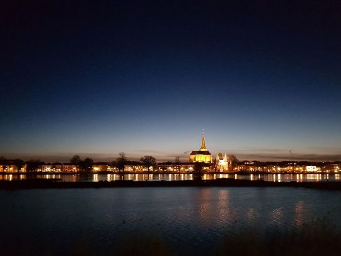 Kampen city by night… Hanze Architecture Dome Building Exterior Built Structure Travel Destinations Night Cityscape Sunset City Water Clear Sky No People Sky Colour Your Horizn