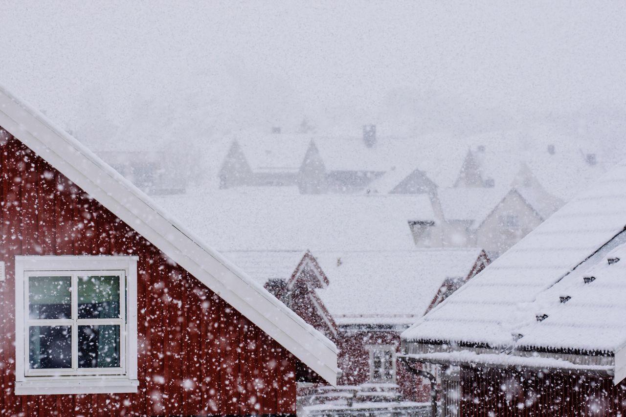 Houses during snowfall