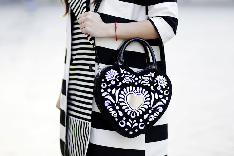 Adult Black Close-up Day Fashion Handbag  Heart Human Hand Lifestyles Luxury Midsection One Person Outdoors People Real People Standing Women
