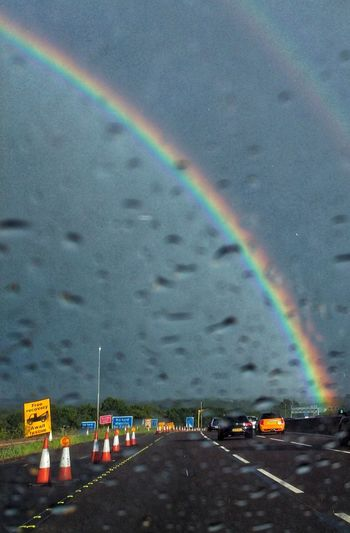 start of our adventure to the ends of the rainbow or the beginning depending on your point of view. Motorway Motorway View M1 Motorway Colorful Spectrum City Refraction Multi Colored Rainbow Road Water