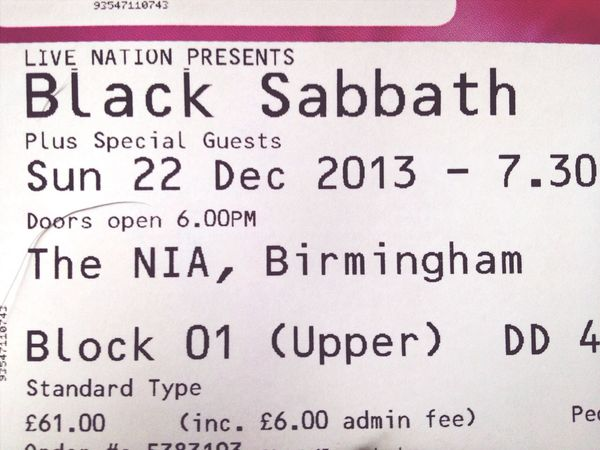 YES - My ticket for Black Sabbath - Rockin' Real Talent