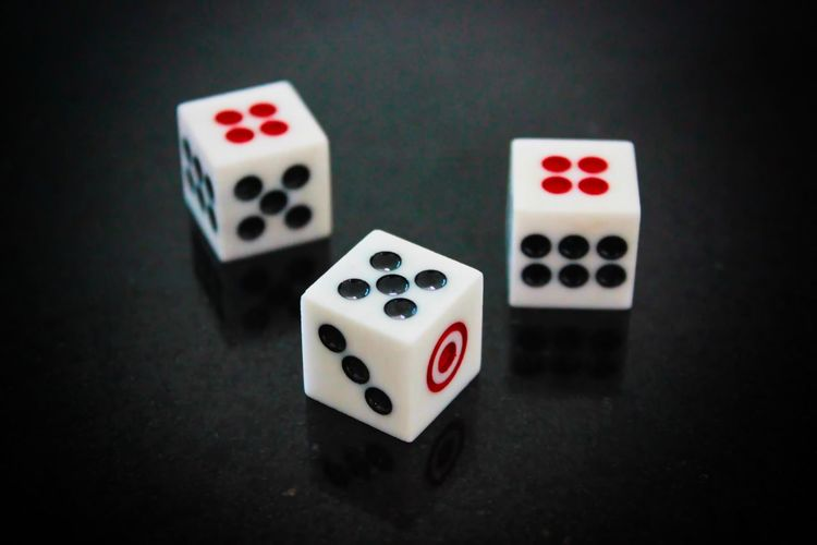 High angle view of dice on table