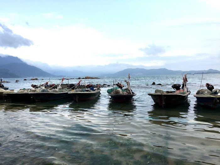 Fishing Boats at Dapeng Beach in Shenzhen, China Fisherman Fishing Boat Fishing Boats Boat Boats Watercraft Fishing Equipment Ocean Ocean View Beach Beach Photography Sea Seaside Dapeng Beach Dapeng Shenzhen China Chinese Coastline Coast